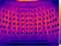 Термография открытого оптического модуля светильника. Максимальная температура на печатных платах 45°С