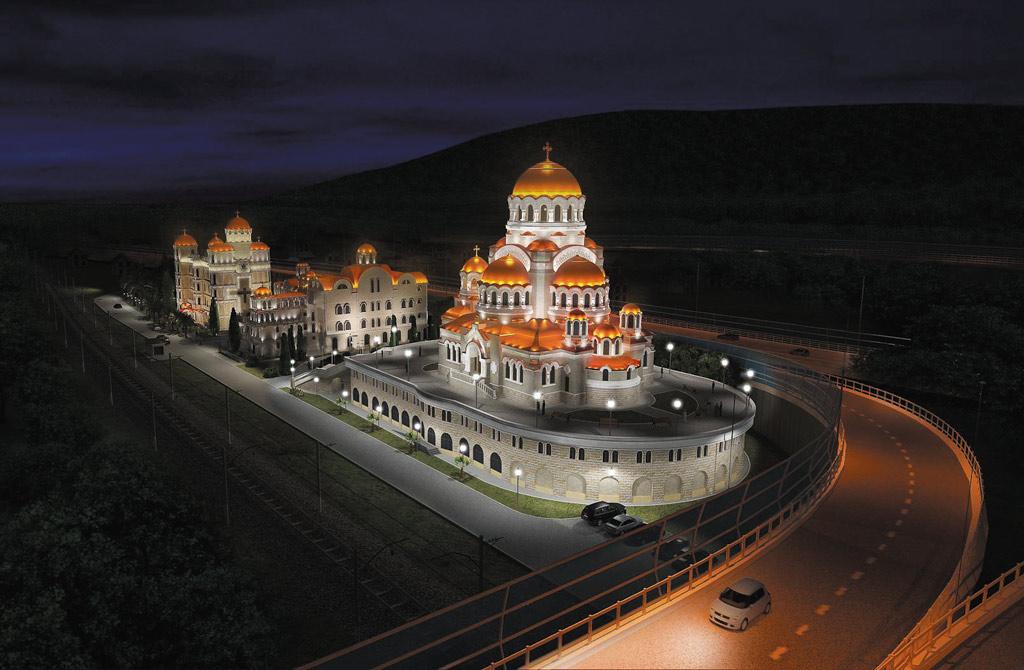 Проект освещения храма в вечернее время в 3D Studio MAX