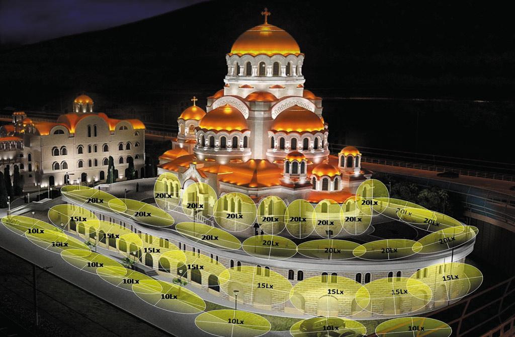 Проект освещения храма в 3D Studio MAX с указанием зон освещенности