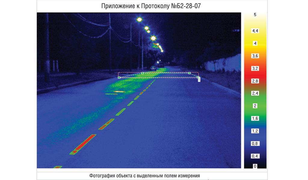 Освещение дорог: измерение яркости дорожного полотна; фотография объекта с выделенным полем измерения