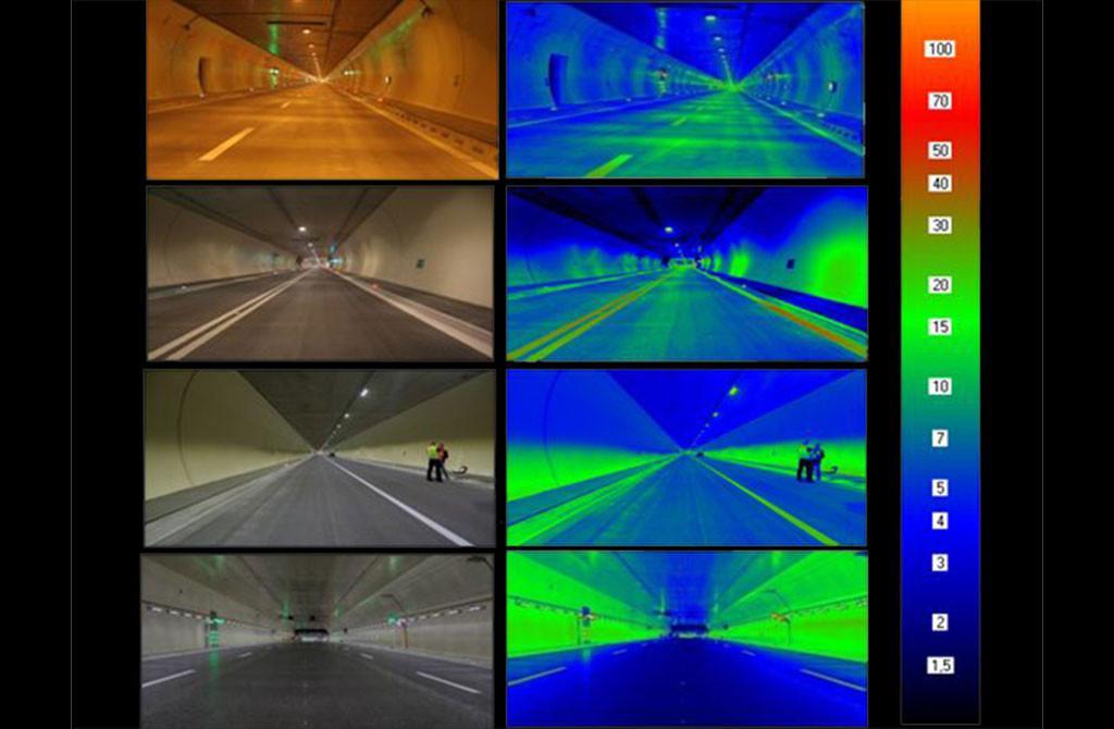 Освещение дорог. Тоннельное освещение: измерение яркости плоскостей