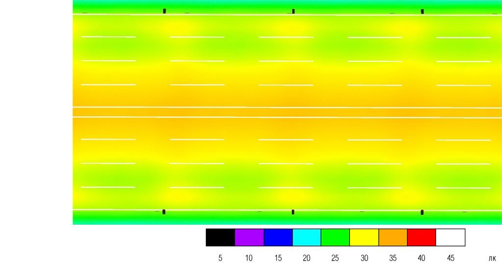 Визуализация в условных цветах распределения освещенности на поверхности дорог категории А1, 8 полос, опоры 12-метровые с двухсторонним расположением (кол-во полос указано в обоих направлениях)