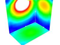 Распределение освещенности в помещении с индексом 0,4 (лестничная клетка)