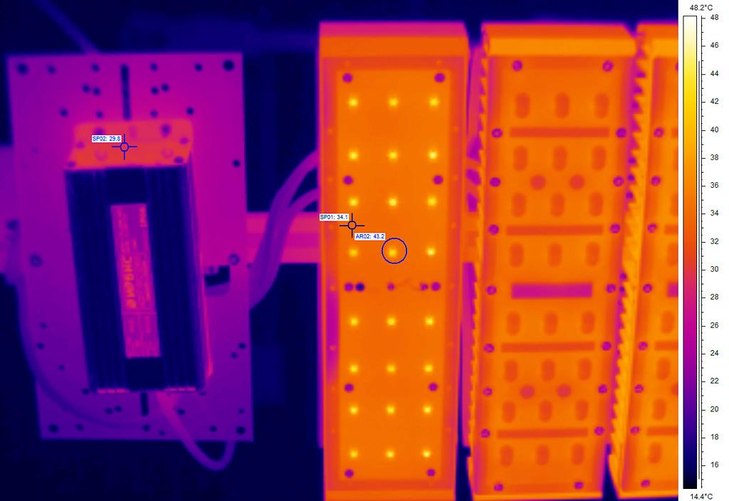 Термография лицевой части светильника после прогрева в рабочем положении (сняты групповая линза с одного модуля и декоративные детали): поверхность алюминиевой печатной платы: точка SP01, t =34°С; боковая поверхность источника питания: точка SP02, t =30°С; линза светодиода: область AR02, tmax =43°С; температура окружающей среды, t =15°С.