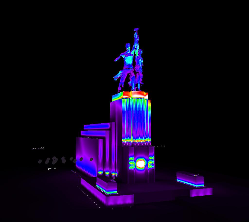 Визуализация освещения скульптуры в фиктивных цветах. Освещение скульптуры Рабочий и колхозница