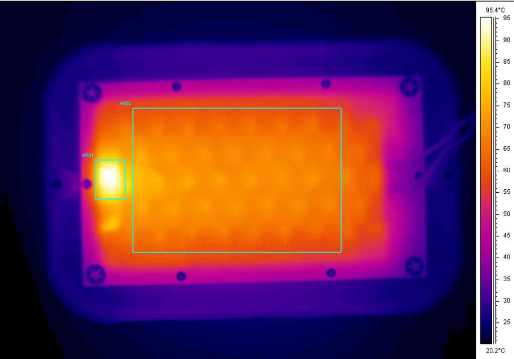 Термография обратной стороны образца после снятия щита. AR01 (зона электронных компонентов); AR02 (зона светодиодов), tave = 67,1°С (среднее значение)