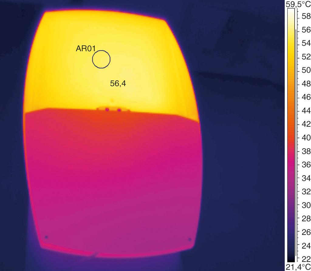 Термография радиатора Teceo 2 после 3-х часов работы