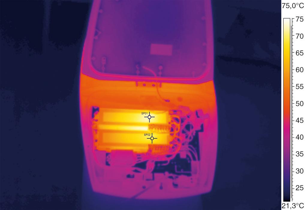 Термография электронного модуля светильника после 3-х часов работы