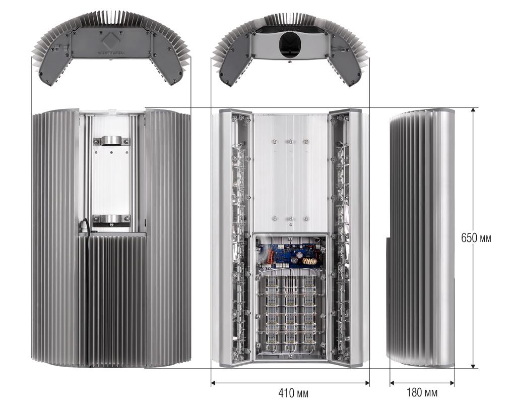 Чертежные виды светильника ГРАД LED-55-1/1.3-С
