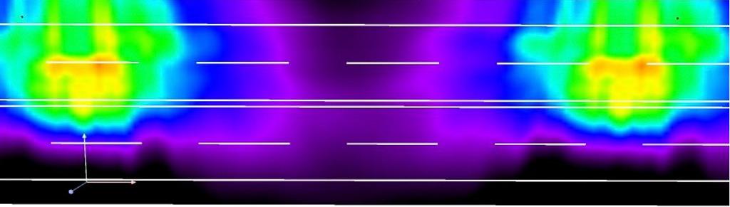 Б2, 4 полосы, опоры 12-метровые с односторонним расположением, средняя полоса 0,1 м