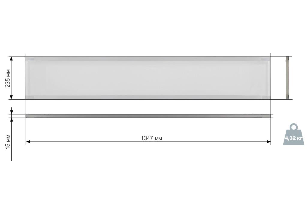 Чертежные виды светодиодного офисного светильника ДСО1001 IEK