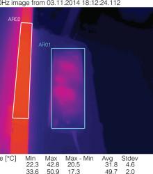 Термографии светильника после прогрева в рабочем положении