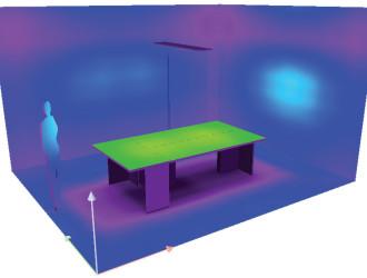 Помещение 1, один светильник. Продольная ось светильника направлена поперек стола.