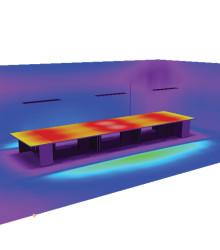 Распределение освещенности на поверхности рабочих столов при высоте подвеса 1,2 м