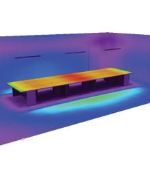 Распределение освещенности на поверхности рабочих столов при высоте подвеса 1,4 м