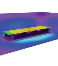 Распределение освещенности на поверхности рабочих столов при высоте подвеса 1,8 м
