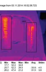 Непосредственно перед съемкой открыта крышка электрического модуля и откинута часть корпуса светильника со светодиодным модулем; область AR01 охватывает вторичный источник питания; область AR02 охватывает модуль управления и стабилизации тока светодиодов