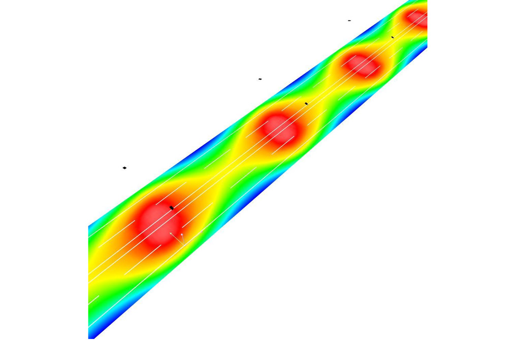 Визуализация в условных цветах распределения освещенности на поверхности дороги с четырьмя полосами движения при оптимальной высоте установки светильников для категории А4 (Б1)