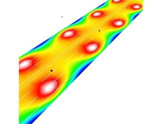 Визуализация в условных цветах распределения освещенности на поверхности дороги с шестью полосами движения при оптимальной высоте установки светильников для категории А3