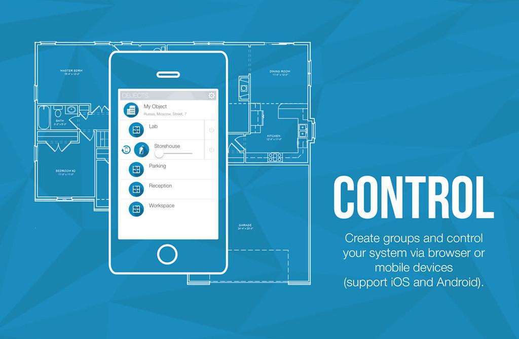 Создавайте группы и контролируйте систему освещения через браузеры и мобильные устройства