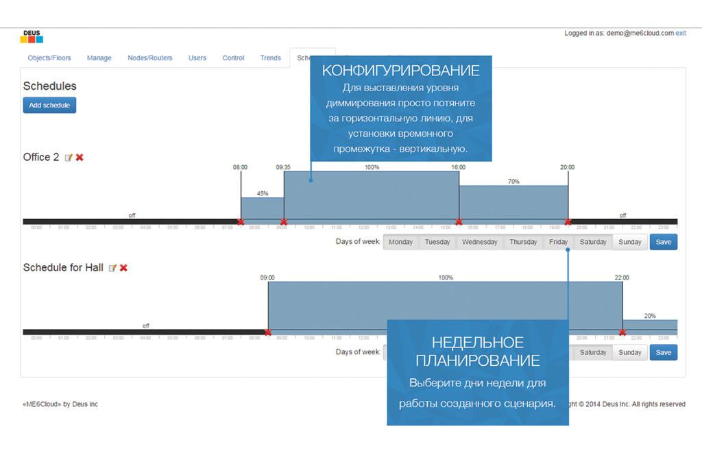 Планирование и создание расписаний работы системы освещения