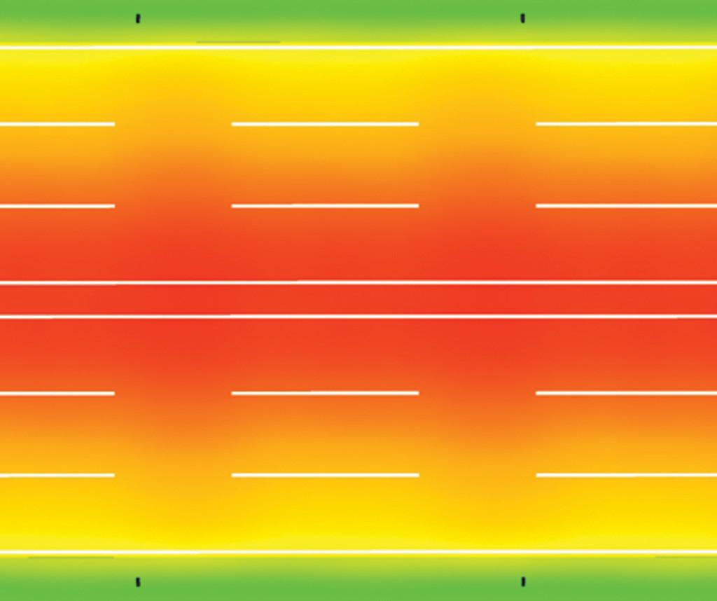 Визуализация распределения освещенности в условных цветах на поверхности дороги А2, 6 полос, монтаж 11 метров, двустороннее, разделит. полоса 1 м