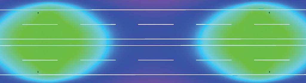 Визуализация распределения освещенности в условных цветах на поверхности дороги В2, 4 полосы, монтаж 11 метров, двустороннее, разделит. полоса 1 м