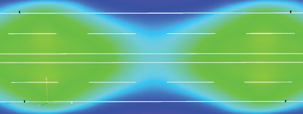 Визуализация распределения освещенности в условных цветах на поверхности дороги В1, 4 полосы, монтаж 10 метров, двустор., разделит. полоса 1 м