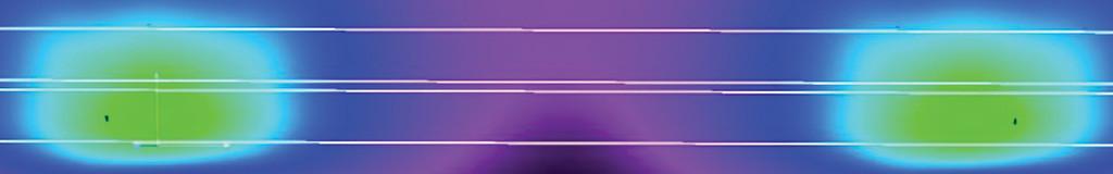 Визуализация распределения освещенности в условных цветах на поверхности дороги В3, 2 полосы, монтаж 9 метров, одностор., разделит. полоса 0,1 м
