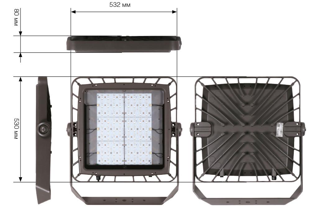 Чертежные виды светодиодного прожектора Omnistar 5120/144 LED от Schreder