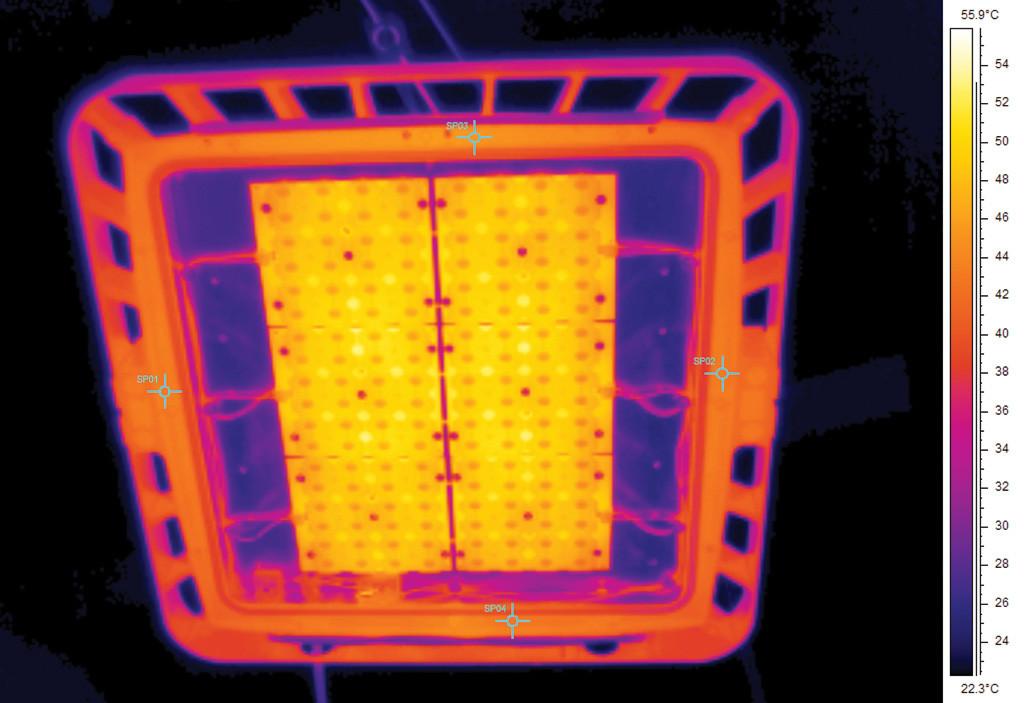 Термография оптического модуля светильника без защитного стекла