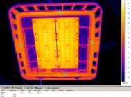 Термография оптического модуля светильника без защитного стекла крупным планом