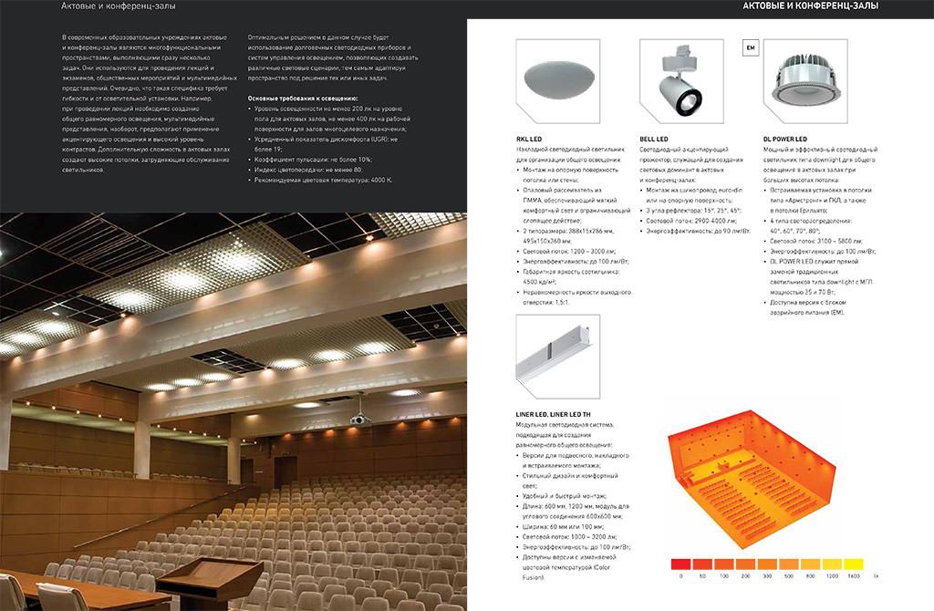 Освещение образовательных учреждений: актовые залы