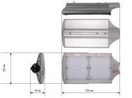 Чертежные виды светильника LuxON Bat 100W-ECO