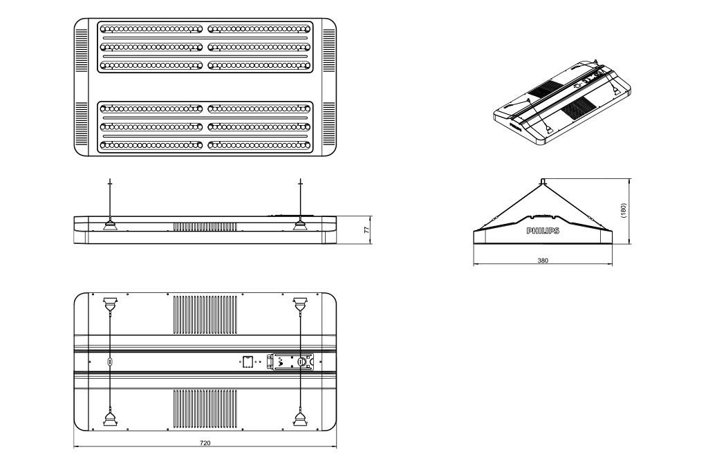 Чертежные размеры светильника GreenUp Highbay