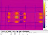 Термография и фотография светодиода светильника с установленными отражателями из бокового ряда