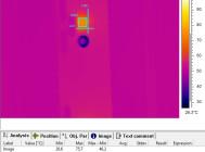Термография и фотография светодиода светильника с снятыми отражателями (минимальная температура)
