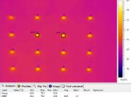 Термография светодиода в зоне максимального нагрева печатной платы светильника
