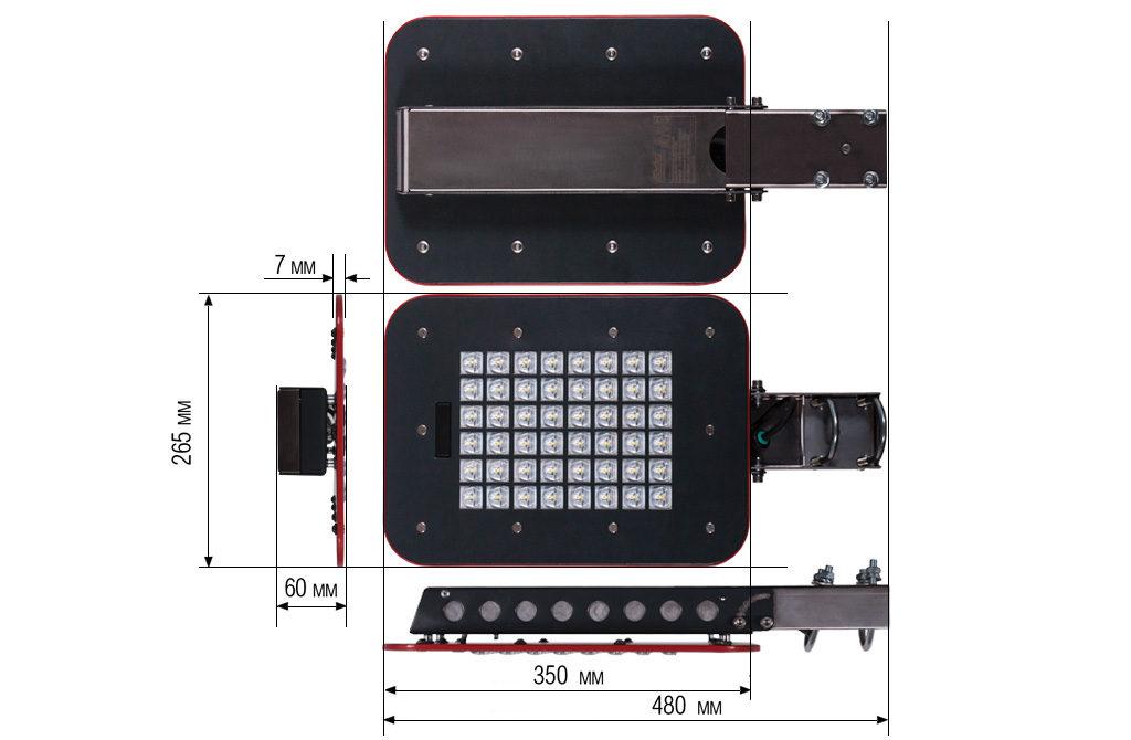 Чертежные виды светильника KEDR LE-СKУ-22-100