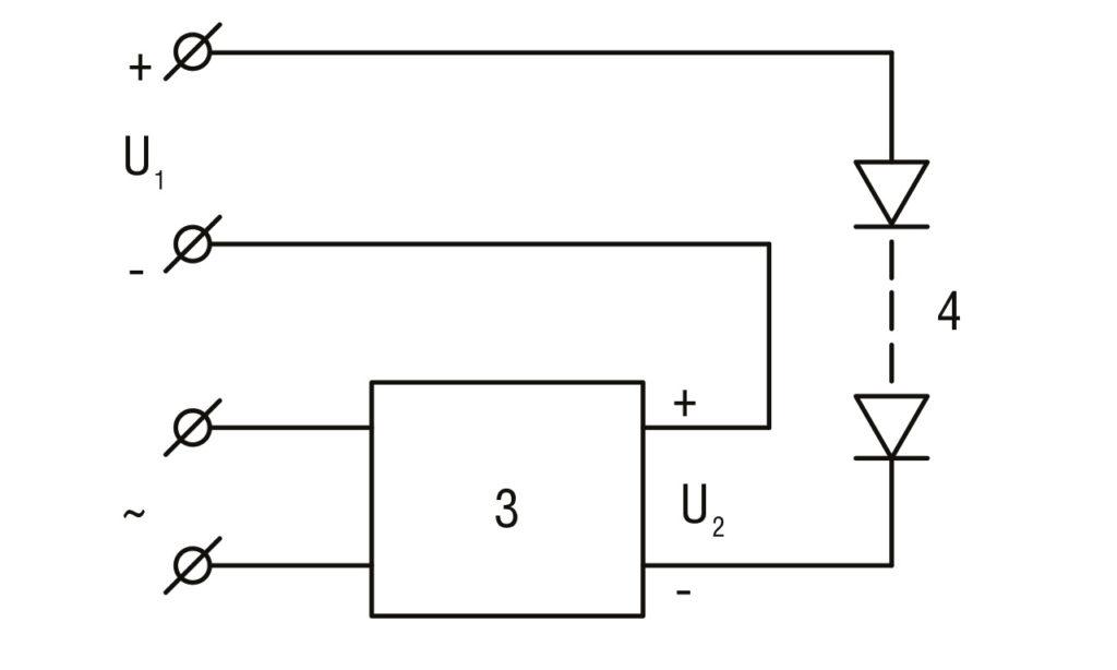 РИС. 1 а. Схема светодиодного драйвера с активным источником тока, питающимся от однофазной сети переменного тока: U1 — выпрямленное напряжение трехфазной сети; U2 — напряжение на выходных клеммах активного источника тока; 3 – активный источник тока с питанием от однофазной сети АС; 4 – группа светодиодов.