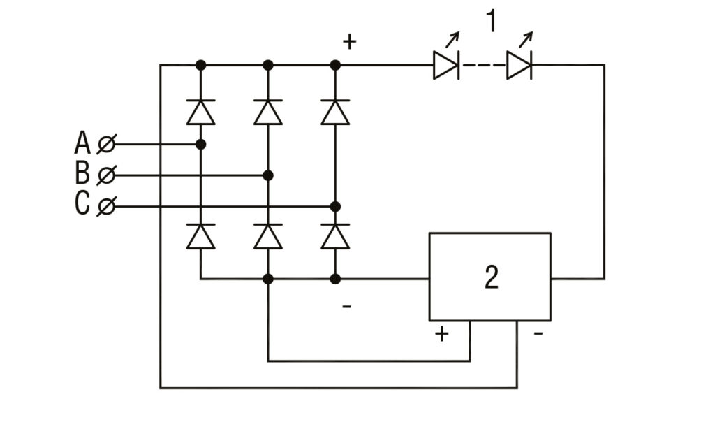 РИС. 1 б. Схема питания светодиодов от 3-х фазной сети с дополнительным источником тока: 1 — цепь светодиодов; 2 — активный источник тока.