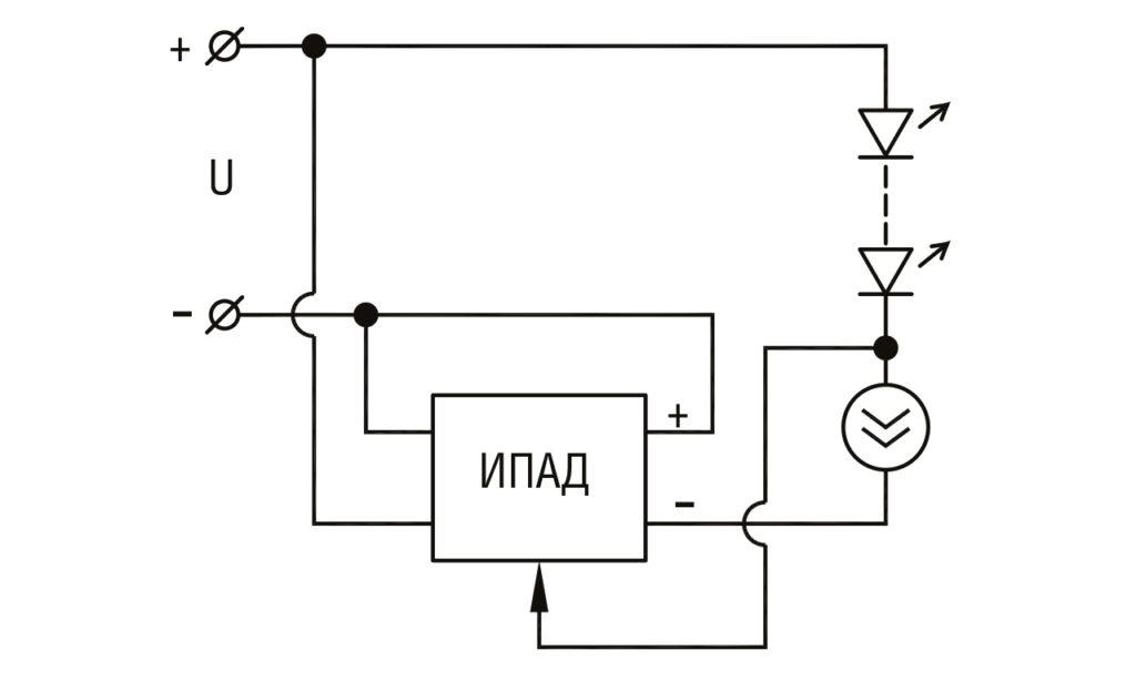 РИС. 3. Схема питания светодиодов с управлением от тока светодиодов