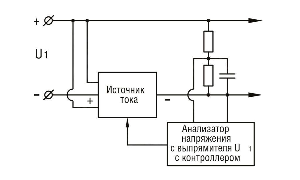 РИС. 5 а. Схема стабилизации и переключения тока (вне светового прибора)