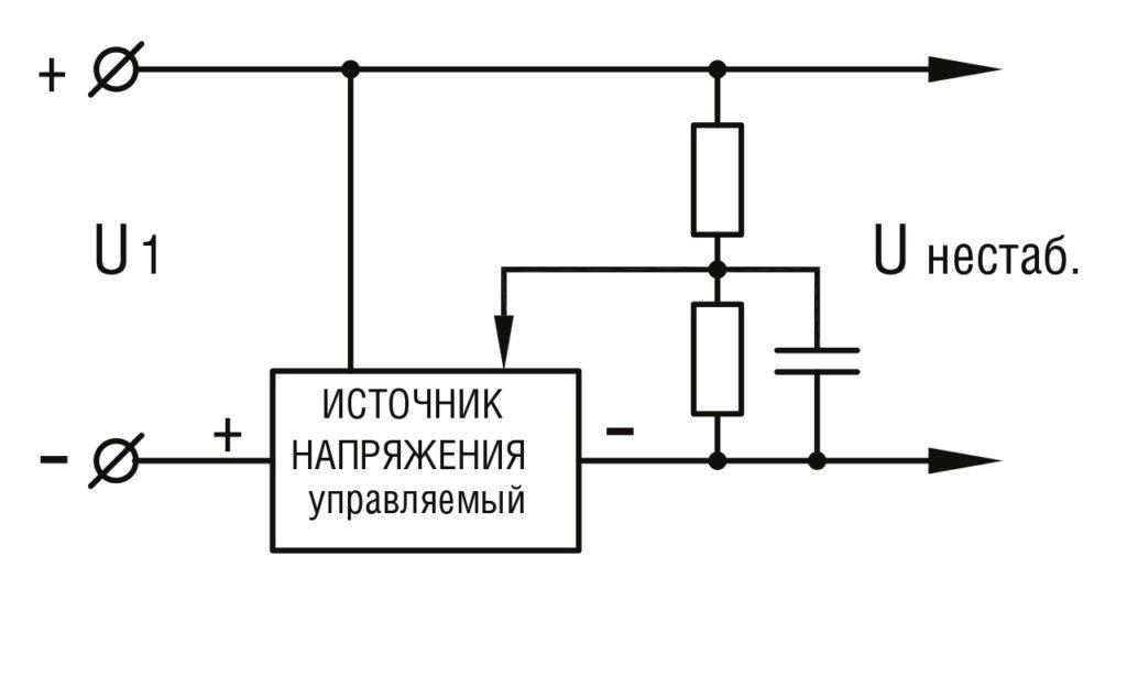 РИС. 6 а. Схема устранения пульсаций (вне светильника)
