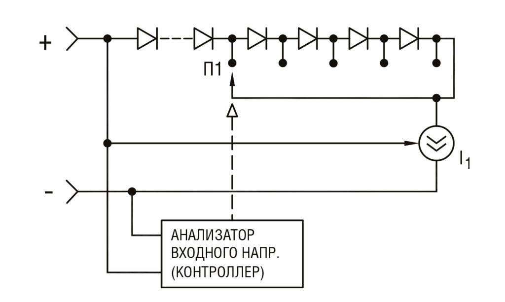 РИС. 6 б. Схема стабилизации мощности осветителей с переключением количества светодиодов. I1, I2 — активные источники тока
