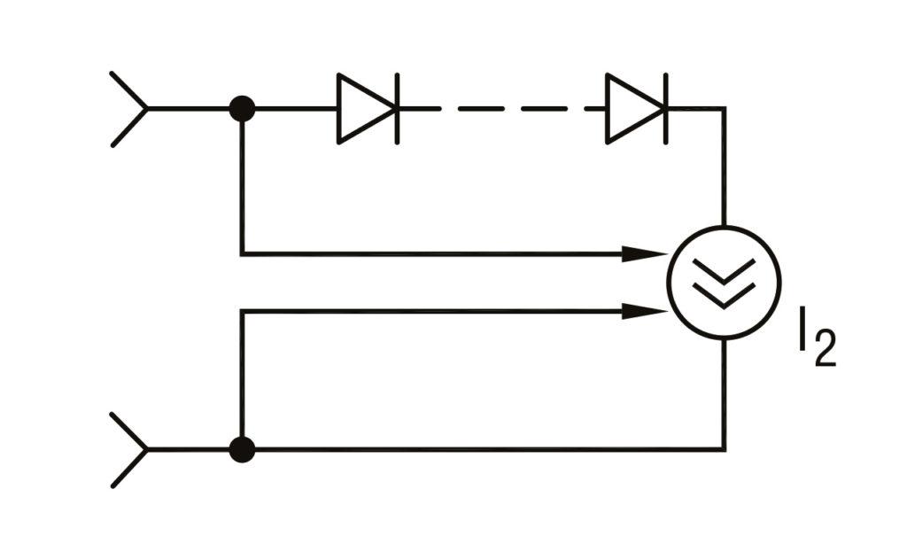 РИС. 6 в. Схема стабилизации мощности осветителей, упрощенный вариант. I1, I2 — активные источники тока