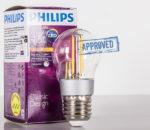 Тест светодиодной филаментной лампы Philips Classic 4,5W-E27 (март 2017)