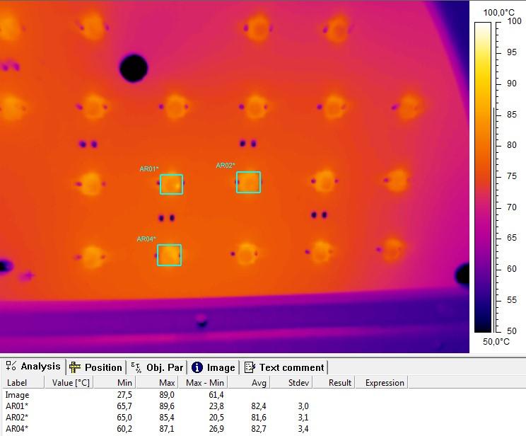 Термография светодиодов в зоне максимального нагрева печатных плат образца