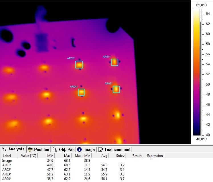 Термография светодиодов в зоне минимального нагрева печатных плат образца