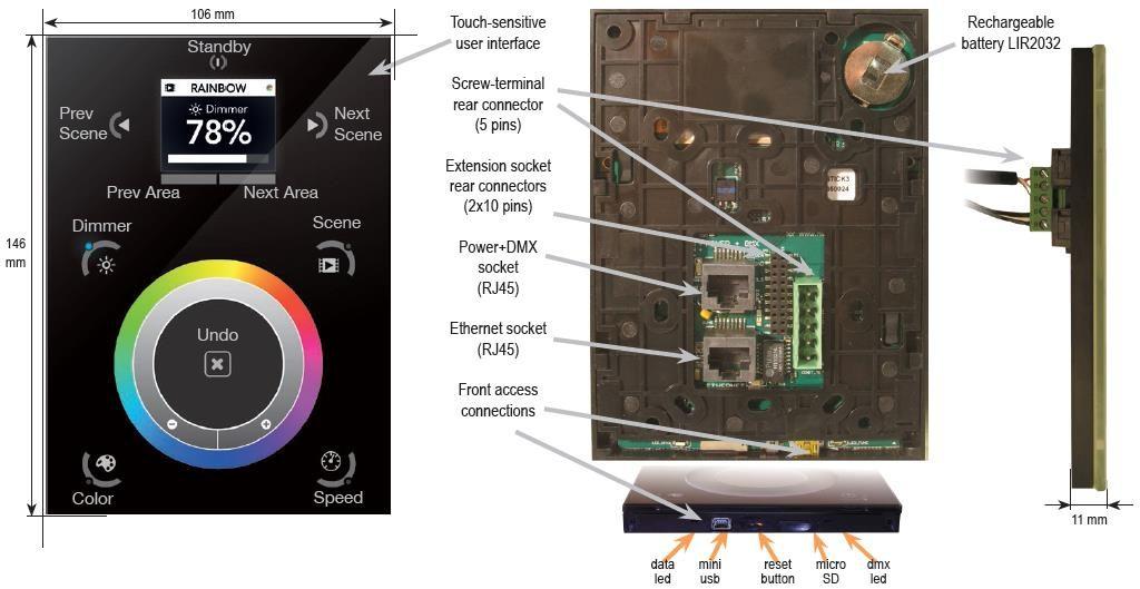 Настенный пульт управления освещением по DMX от Nicolaudie